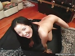 Asian girl in suitcase gives him a blowjob tubes