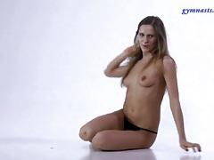 Skinny ballerina strips from her tutu tubes