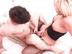 He bottoms for beautiful shemale in stockings tubes