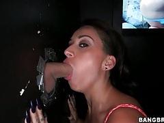 Alby rydes deepthroats cock at gloryhole tubes