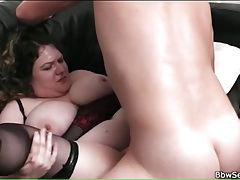 Fat lingerie babe fucked in her shaved pussy tubes