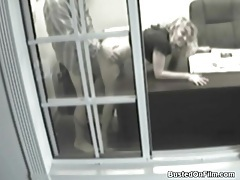 Security camera office fuck with blonde tubes