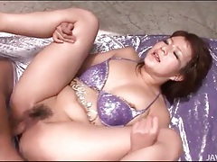 Moaning lady on her back takes a creampie tubes
