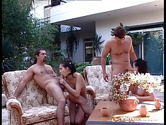 Fucking two gorgeous women in foursome tubes