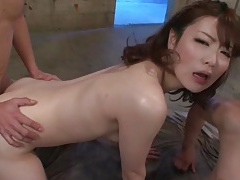 Young sexy slut in fishnets has threesome sex tubes