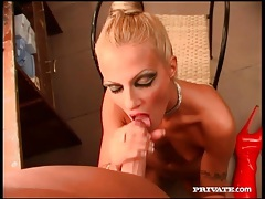 Back room blowjob from hot blonde in boots tubes