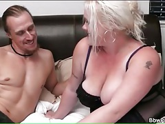 Fit guy gets blowjob from bbw in lingerie tubes