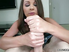 Cali hayes gives handjob to lubed up cock tubes