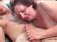 Fat cocksucking mature takes ride on his dick tubes