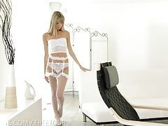 Nubile films - tight little pussy stuffed full of cock tubes