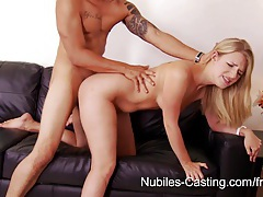 Nubiles casting - cum drips from her tongue onto her tits tubes
