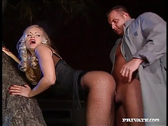 Fishnets babe kitty sixx sucks dick and fucks tube