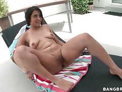 Slutty brunette lubes her pussy and toy fucks tubes
