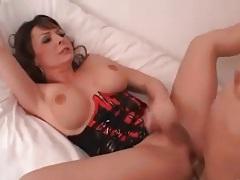 Beautiful tranny in latex corset fucked anally tubes