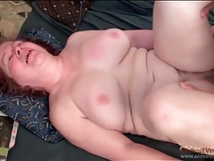 Fat old lady jiggles as he fucks her pussy tubes