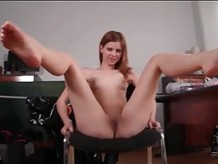 Flexible young lady has a shaved pussy tubes