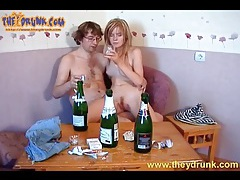 Slim sexy drunk girl sucks on big cock tubes
