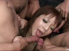 Blowbang with guys cumming on japanese slut tubes