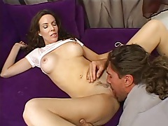 Milf in ruffled skirt sucks the repair guy tubes