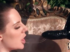 Latex mistress fucks girl with big strapon tubes