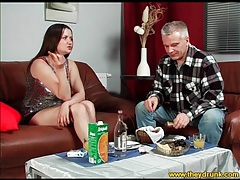 Cutie in sparkly top drinks and eats with guy tubes