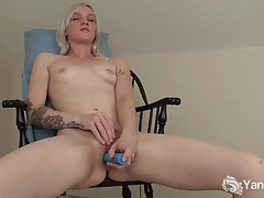 Tattooed blonde ari fucks a blue dildo tubes