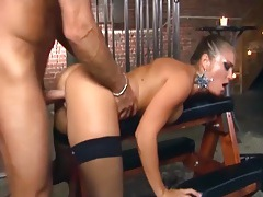 Kinky fucking in ripped up thigh high stockings tubes