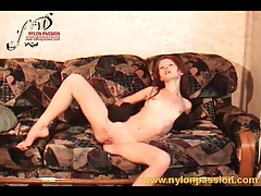 Shaved honey sandy makes nylon fetish video tubes