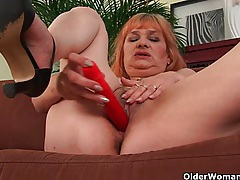 Hairy grandma with big tits has solo sex with dildo tubes
