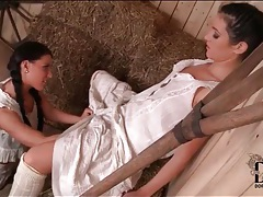 Lesbians in farm girl dresses fool around tubes