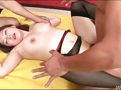 Lingerie girl gives up holes in threesome tubes