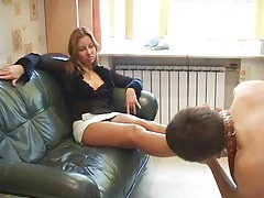 She orders him to lick her toes lustily tubes