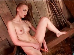Smooth wooden dildo fucks shaved girl solo tubes
