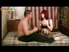 Redhead and her man share drinks tubes