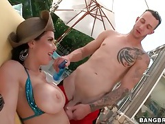 Milf in shiny bikini models tits outdoors tubes