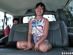 Petite girl strips in the car and shows her pussy tubes
