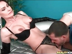 Kissing and licking classy slut in leather gloves tubes