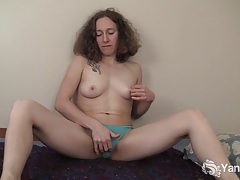 Curly haired nina fingering her slick quim tubes