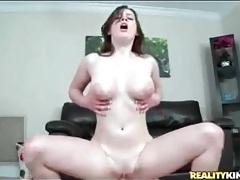 Curvy beauty has sweaty sex on cock tubes