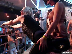 Sexy lesbians dancing in club tubes