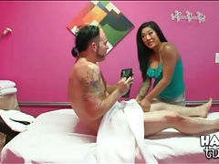 Tattooed masseuse sucks her client tubes