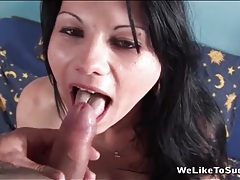 He cums on her tongue after hot blowjob tubes