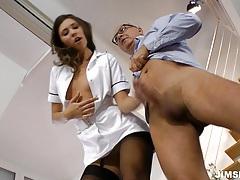 Brunette nurse gets fucked and jizzed tubes