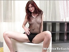 Redhead babe with perfect perky tits fondled tubes