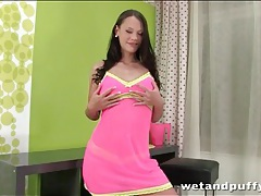 Hot pink lingerie on brunette laura brooks tubes