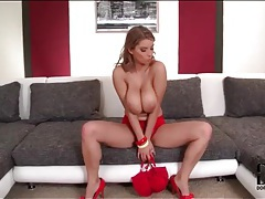 Red heels and panties on this sexy chick tubes