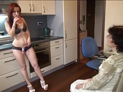Young chick in sexy panties strapon fucks grandma tubes