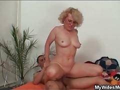Seductive old lady rides his hard boner tubes