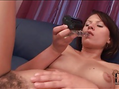 Dildo slides into hairy cunt of ansie rocher tubes