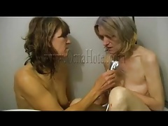 Saggy old ladies take a lesbian shower tubes